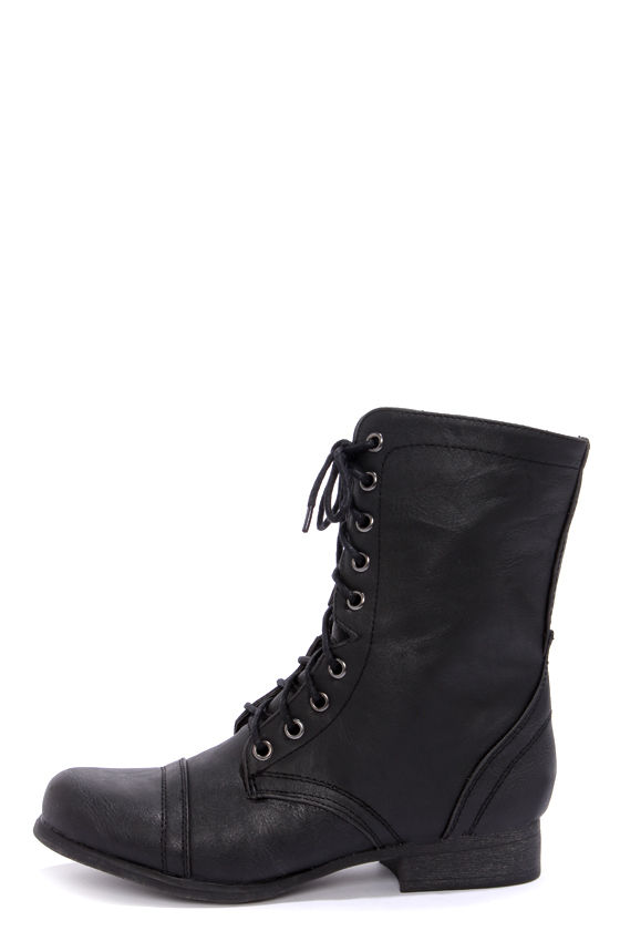 Cute Black Boots - Combat Boots - Lace-Up Boots - $59.00