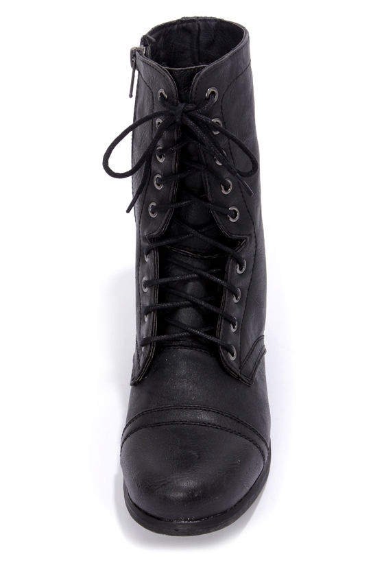 Madden Girl Gamer Black Pari Lace-Up Combat Boots at Lulus.com!