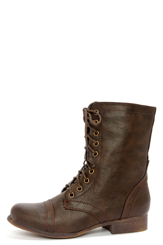 Girls Brown Combat Boots