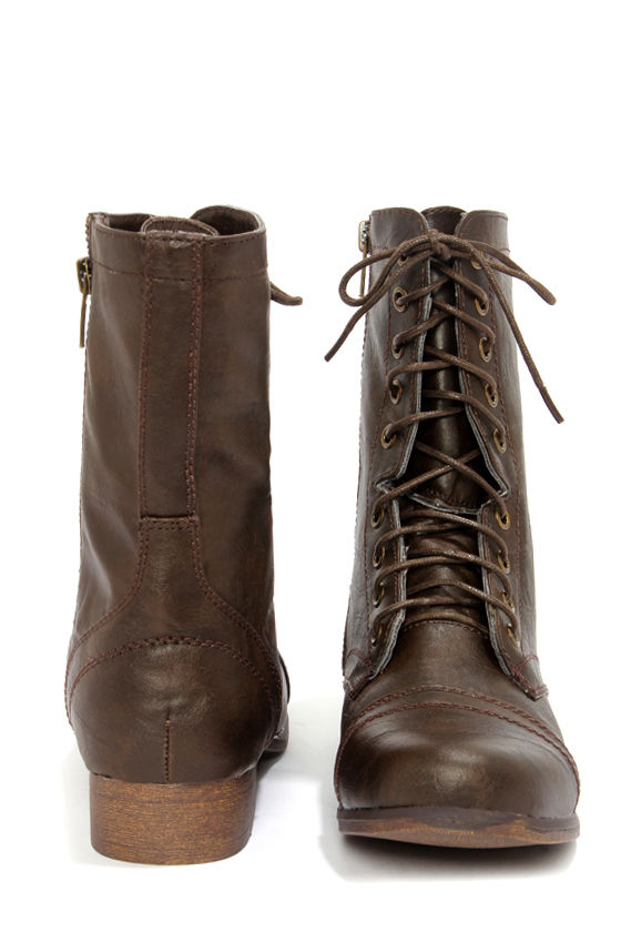 Cute Brown Boots - Combat Boots - Lace-Up Boots - $59.00