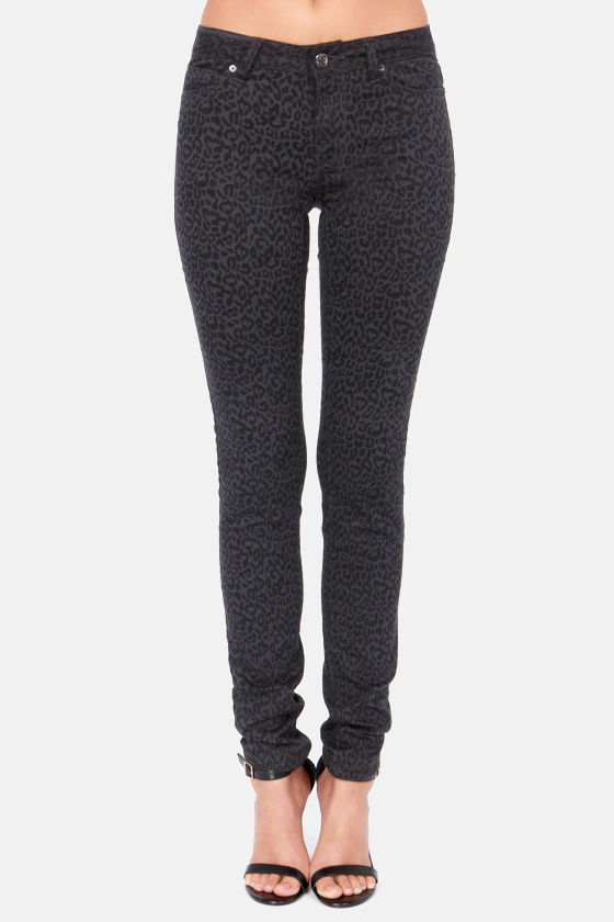 Moto Super Skinny Grey and Black Cheetah Print Skinny Jeans at Lulus.com!