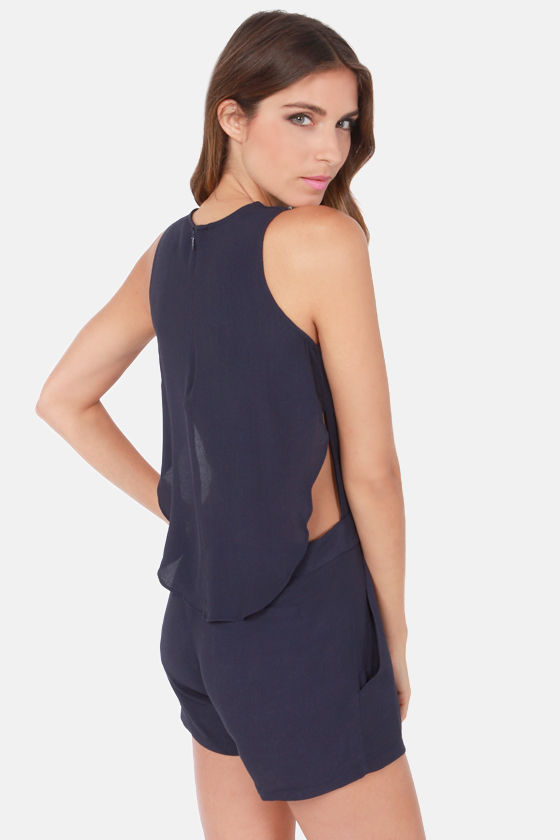 Wear-Abouts Navy Blue Romper at Lulus.com!