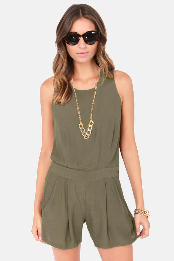 Wear-Abouts Olive Green Romper at Lulus.com!