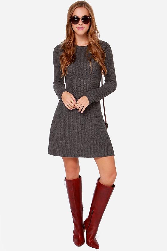 Knit Gonna Do It Grey Sweater Dress