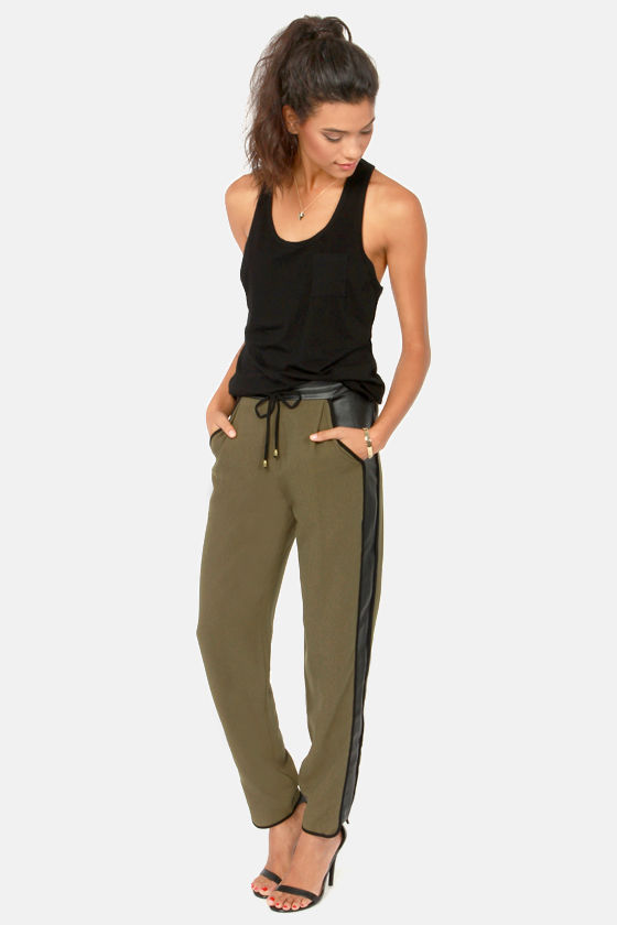 Cute Olive Green Pants - Black Pants - Cropped Pants - Slouch ...