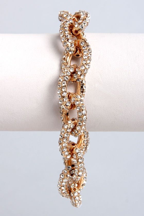 Link-Well Gold Rhinestone Bracelet at Lulus.com!