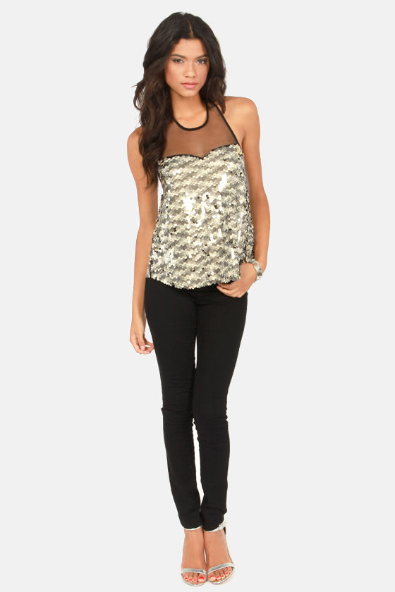 The Other Sequin Girl Silver Sequin Halter Top at Lulus.com!