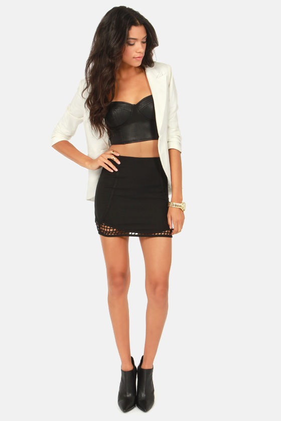 Lattice Update Black Mini Skirt at Lulus.com!