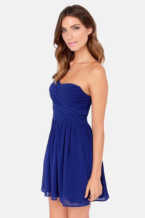 Lovely Strapless Dress - Royal Blue Dress - Party Dress - $49.00