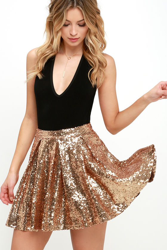 Pretty Gold Skirt - Sequin Skirt - Skater Skirt - Mini Skirt - $59.00