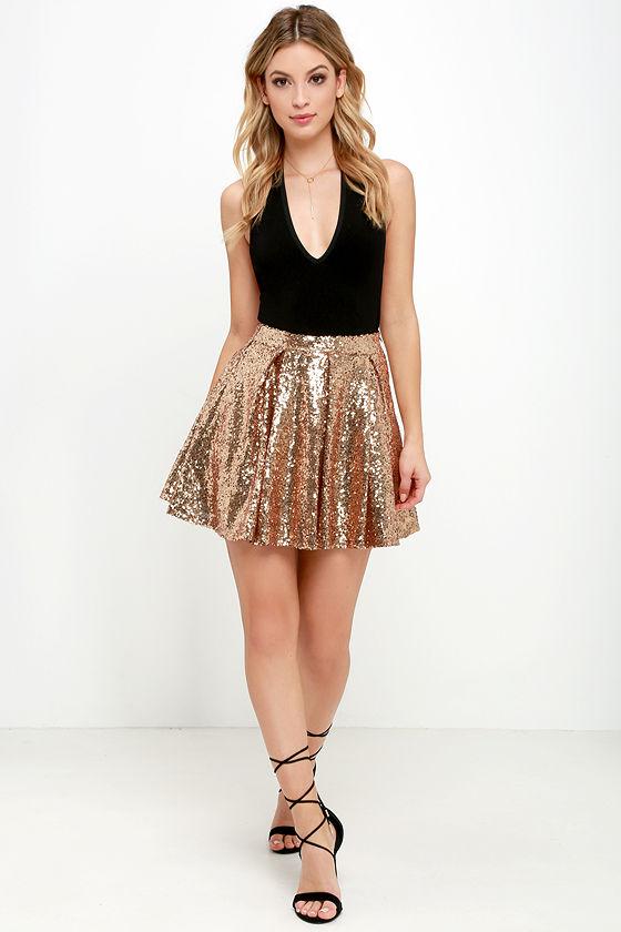 6972d0addd Pretty Gold Skirt - Sequin Skirt - Skater Skirt - Mini Skirt -  59.00