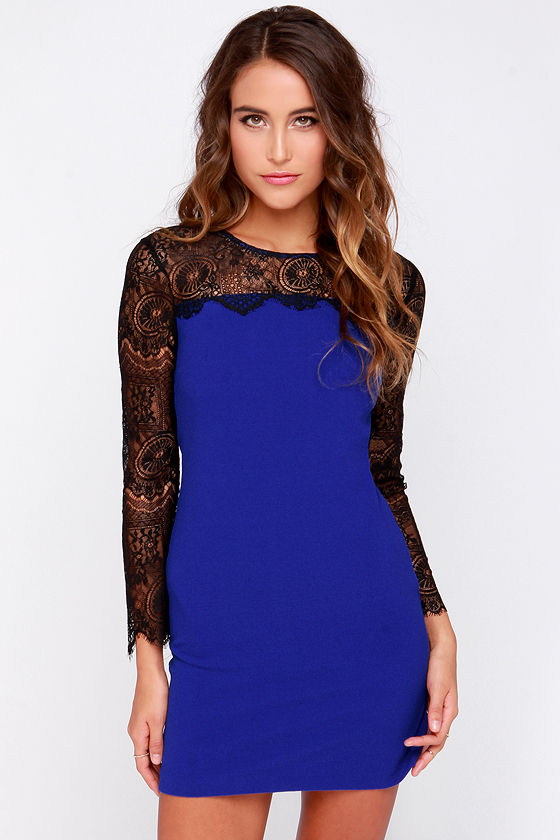 Blue Dress - Black Lace Dress - Long Sleeve Dress - $87.00