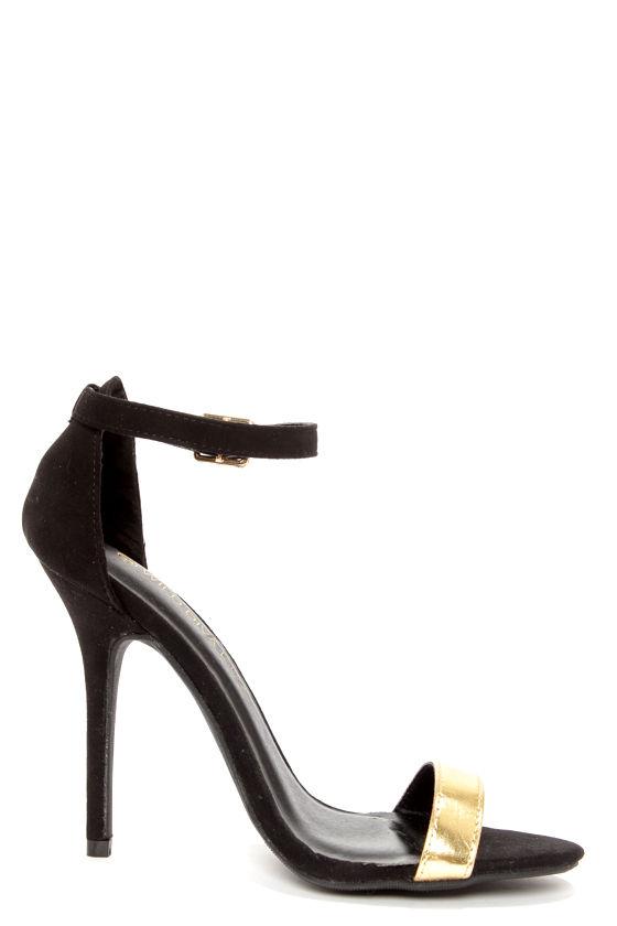 Sexy Black Heels - Gold Heels - Single Strap Heels - $22.00