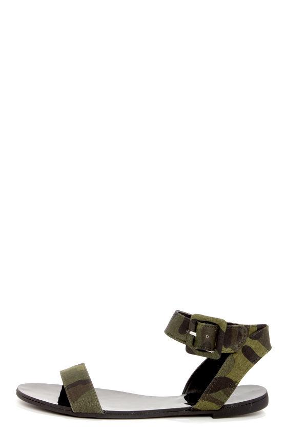 3068aa7ebea9b2 Cute Camo Print Sandals - Flat Sandals - Camo Shoes -  21.00