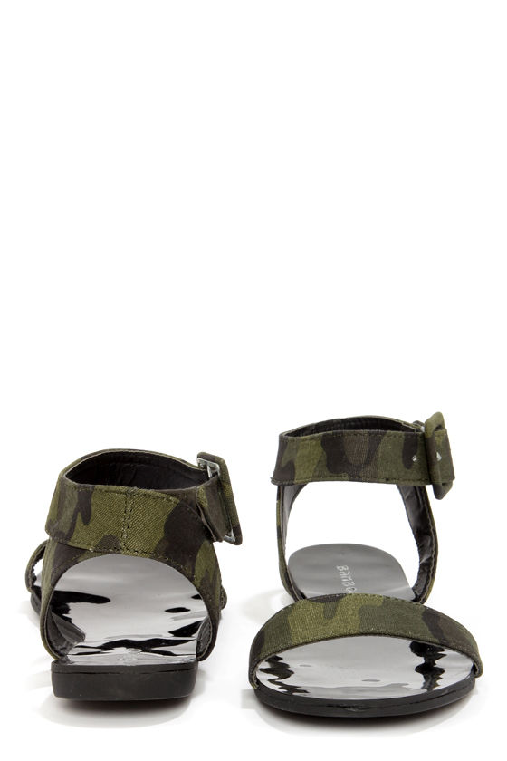 Bamboo Funn 01 Camo Print Flat Ankle Strap Sandals at Lulus.com!