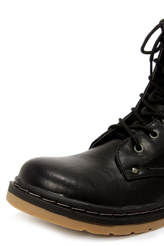 Bamboo Notch 02 Black Lace-Up Combat Boots at Lulus.com!