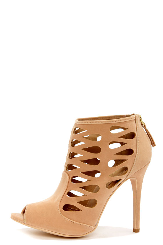 Anne Michelle Rapture 34 Nude Cutout Ankle Booties at Lulus.com!