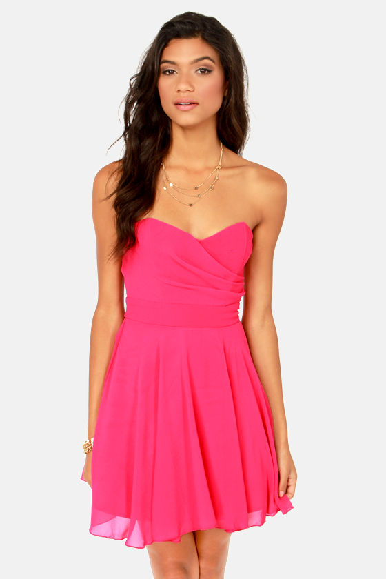 Hot Pink Strapless Dresses