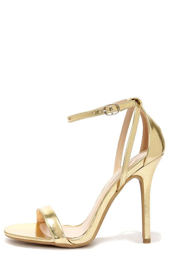 ded0747015f Cute Gold Heels - Ankle Strap Heels -  22.00