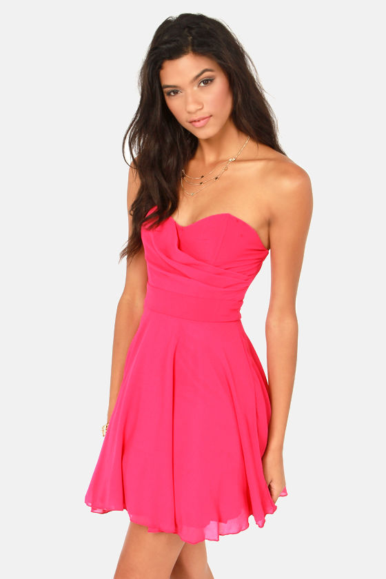 TFNC Minnie Strapless Hot Pink Dress at Lulus.com!