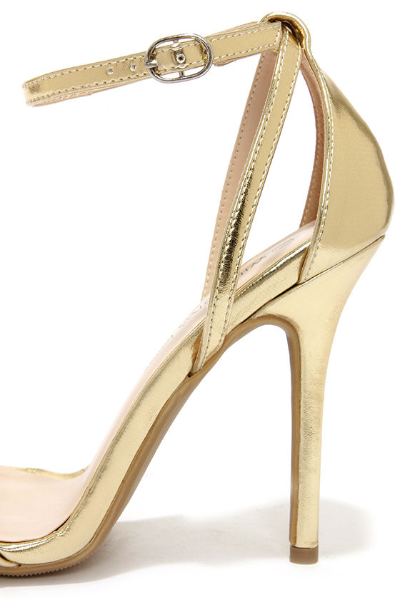 Cute Gold Heels - Ankle Strap Heels - $22.00