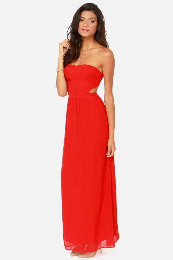 Cute Red Dress - Strapless Dress - Maxi Dress - $47.00