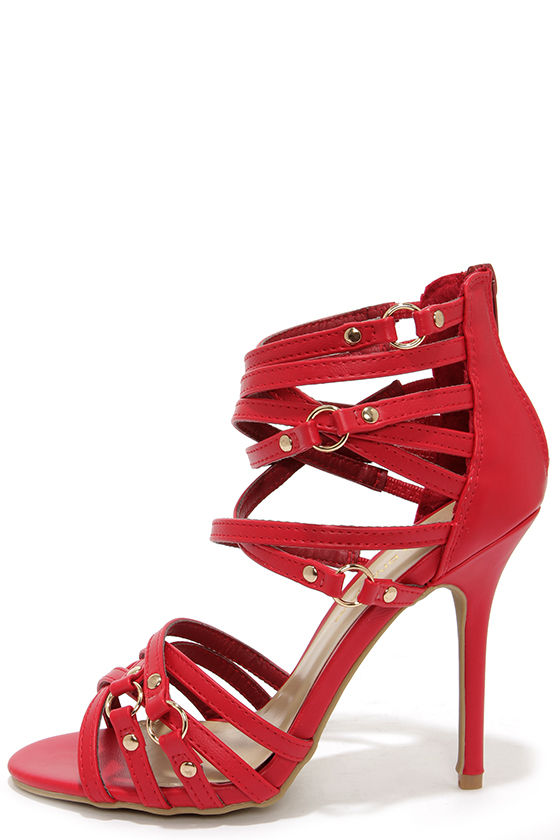 Red Strappy High Heel Sandals