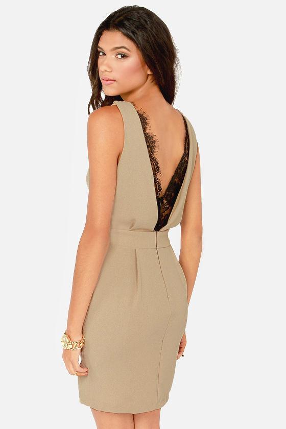 Cute Beige Dress Lace Dress Sheath Dress 42 00