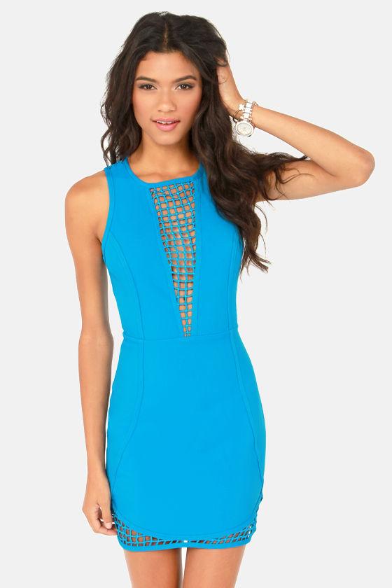 Don't Be Trellis Cutout Blue Dress at Lulus.com!