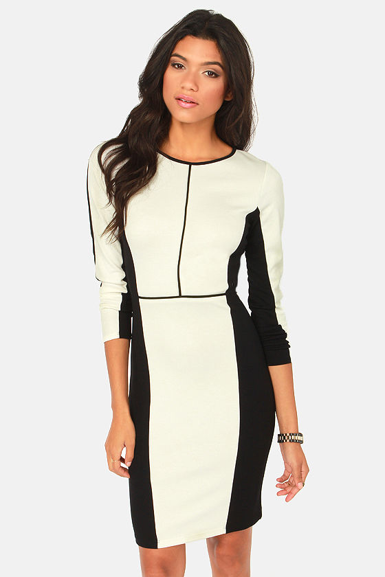 Rubber Ducky Applause Black and Ivory Dress at Lulus.com!
