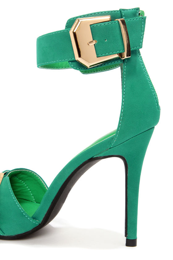 Shoe Republic LA Soojin Aqua and Gold Ankle Strap Heels at Lulus.com!