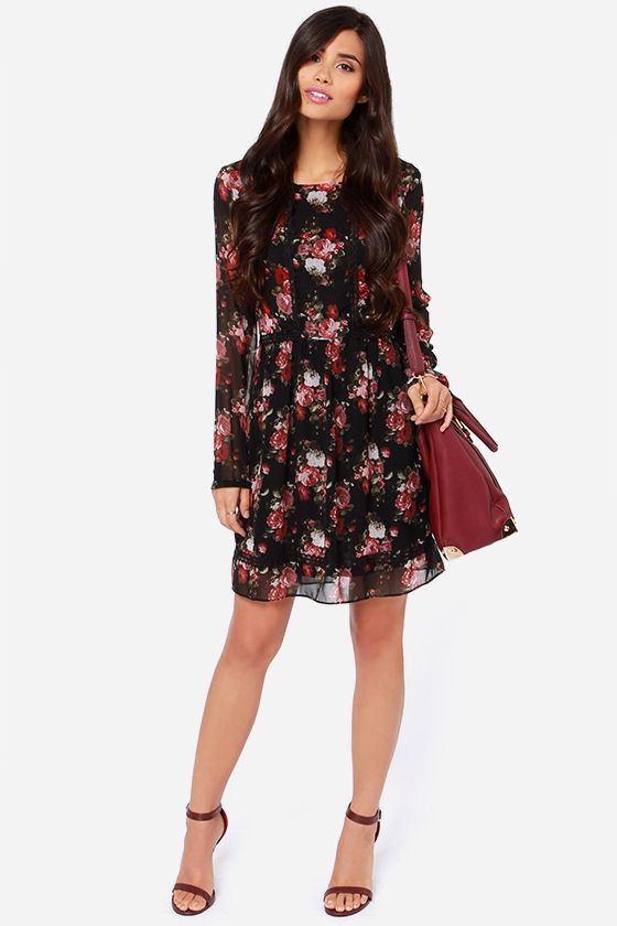 2d7d1957ef6 Lingones Dress - Black Dress - Floral Dress - Long Sleeve Dress -  67.00