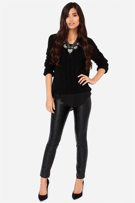 Cute Black Pants - Vegan Leather Pants - Skinny Pants - $91.00