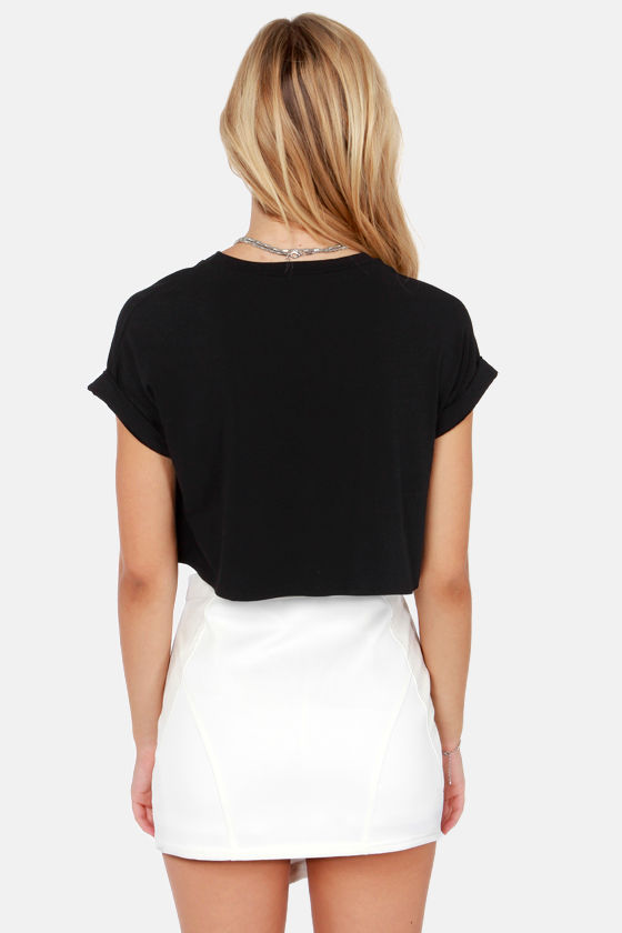 Monday I'm in Love Black Crop Tee at Lulus.com!