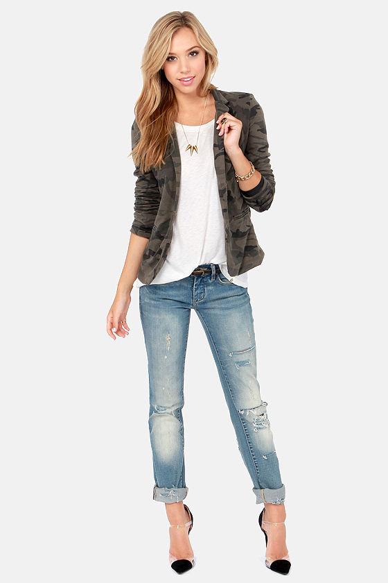 cbbd3e562100c Cute Camo Print Blazer - Olive Green Blazer - Women's Blazer - $61.00