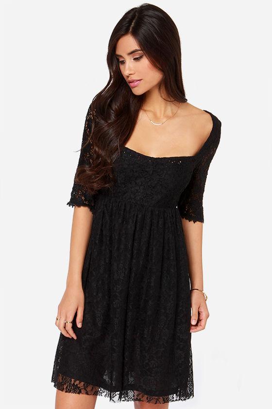 Sasha Black Dress - Black Dress - Lace Dress - Short Sleeve Dress ...