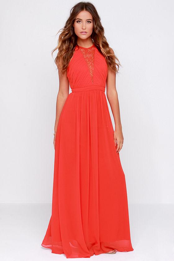 Bariano Francesca Red Dress Maxi Dress Lace Dress