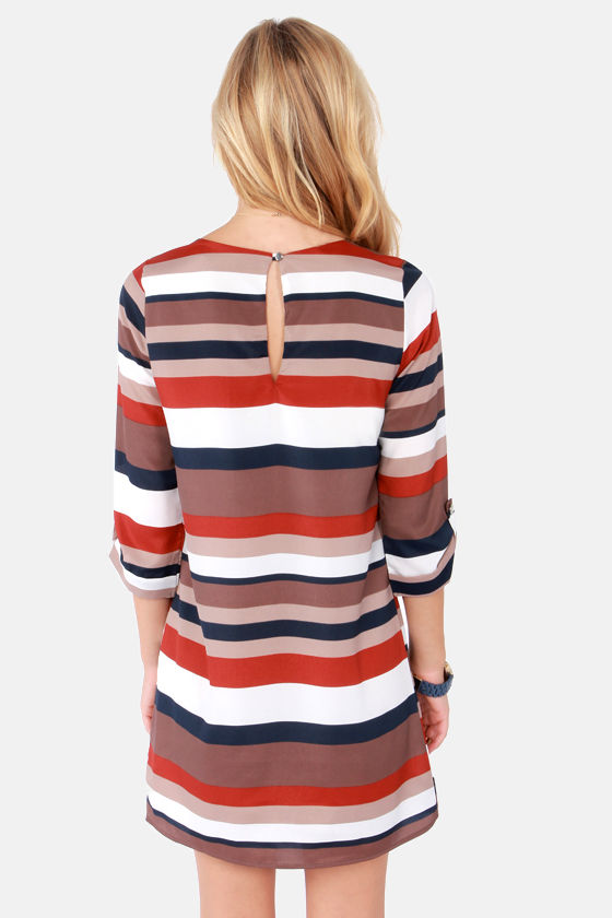 From Start to Finish Line Taupe Striped Shift Dress at Lulus.com!