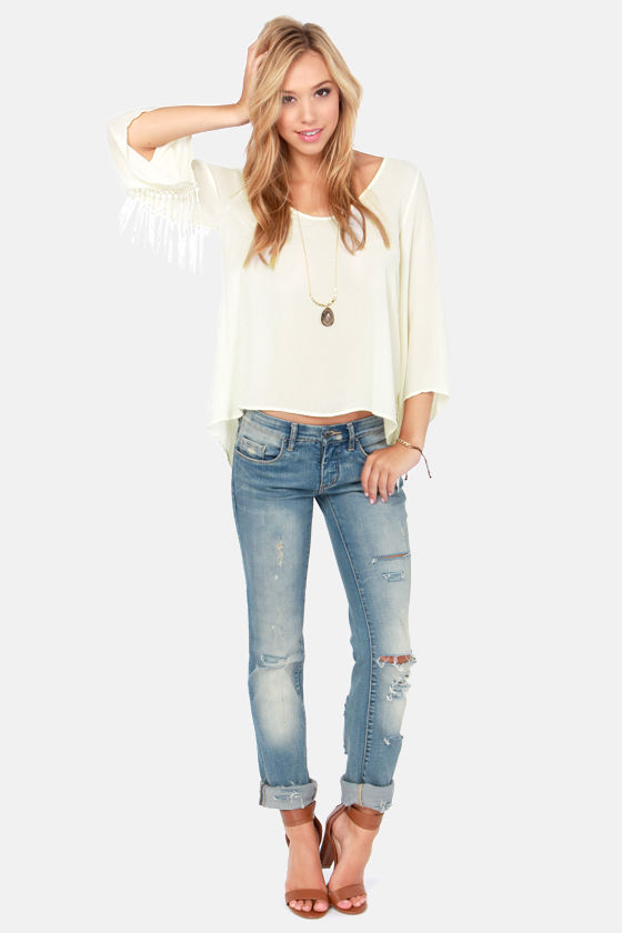 Drops By and By Fringe Cream Top at Lulus.com!