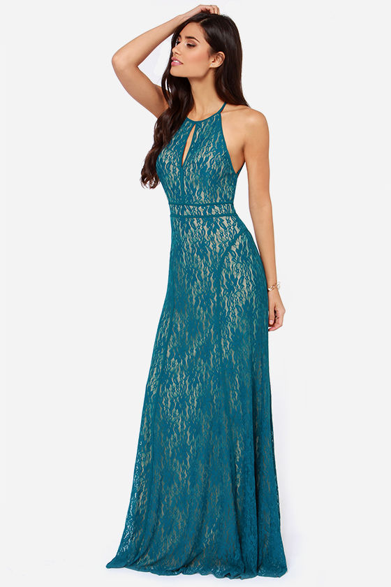 Blue Dress - Maxi Dress - Lace Dress - Backless Dress - $69.00