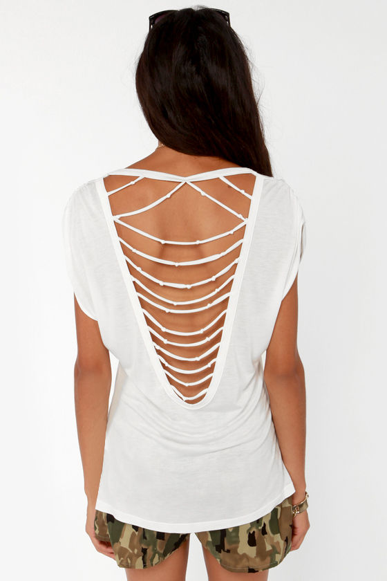 Shred of the Class Strappy Ivory Tee at Lulus.com!