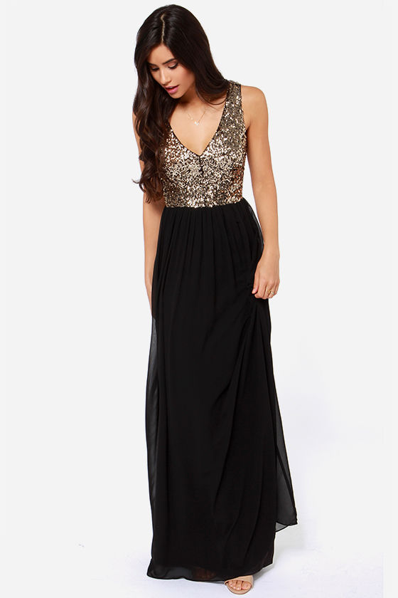 a7e4bfab692 LULUS Exclusive Maximum Shine Black and Gold Sequin Maxi Dress