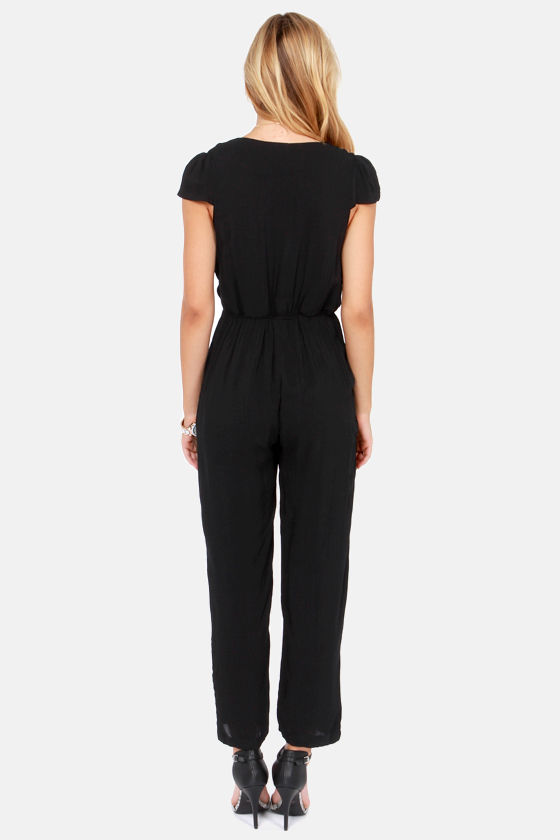 Reverse The Deep End Cropped Black Jumpsuit at Lulus.com!