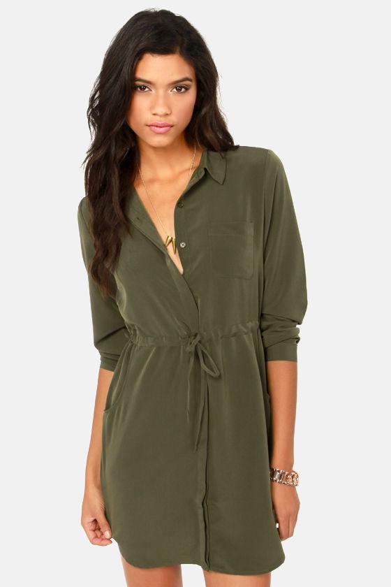 4fd81fe01d8 Olive   Oak Dress - Olive Green Dress - Shirt Dress -  71.00
