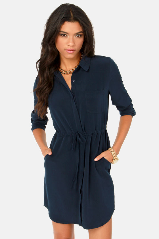 Olive & Oak Dress - Navy Blue Dress - Shirt Dress - $71.00
