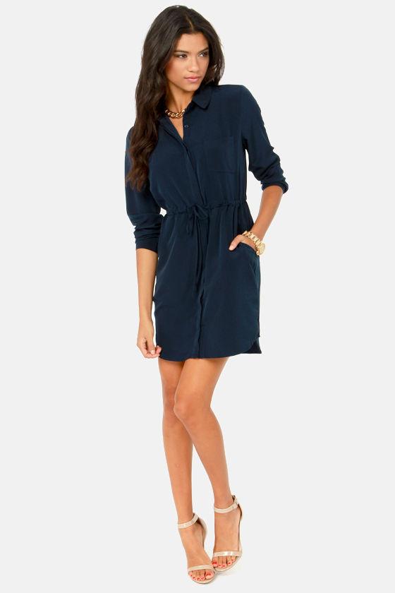 Olive & Oak Dress - Navy Blue Dress - Shirt Dress - $71.00
