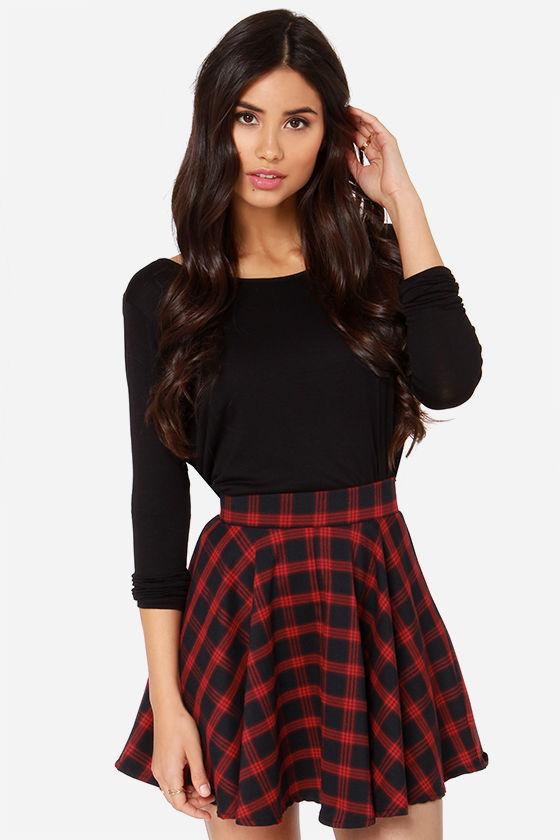 Red Skirt - Plaid Skirt - Mini Skirt - High-Waisted Skirt - $47.00