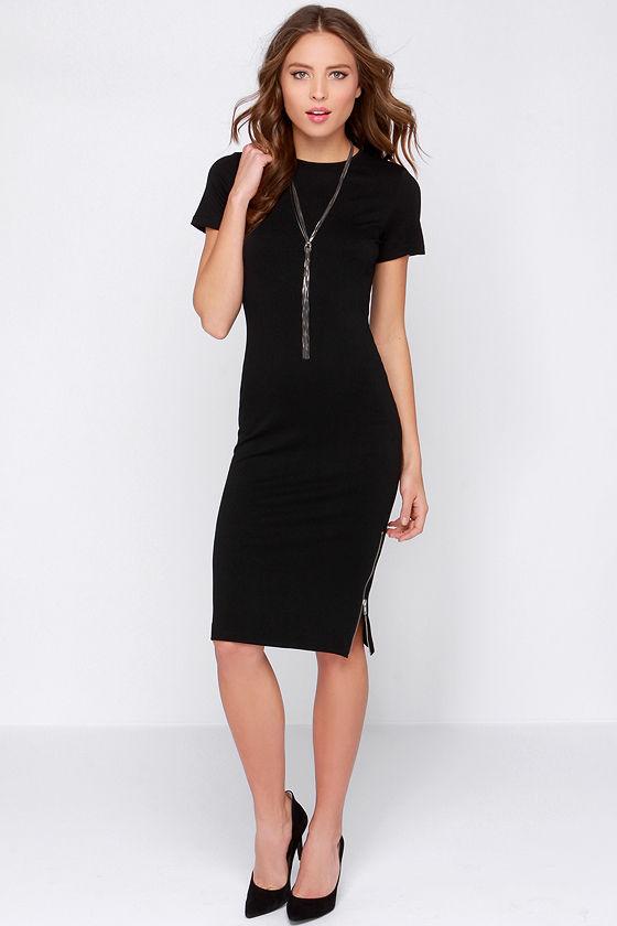 Black Dress - Shift Dress - Midi Dress -Short Sleeve Dress - $39.00