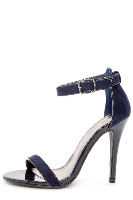 Cute Navy Blue Shoes Ankle Strap Heels Blue Heels