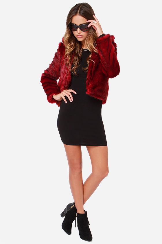 22026d998ad Awesome Red Jacket - Faux Fur Jacket - Burgundy Jacket -  109.00